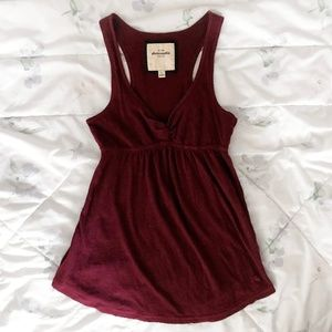 A&F Cute Babydoll Center Twist Burgundy Tank Top